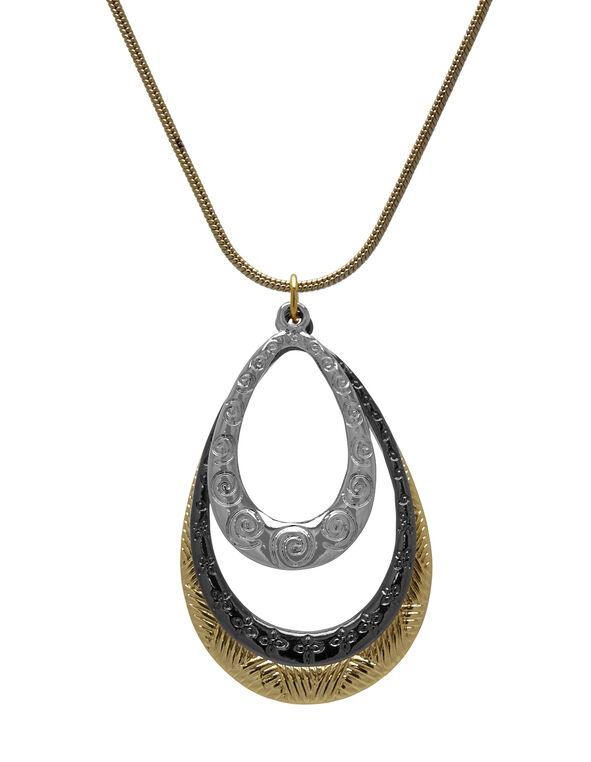 Short Tri-Metal Necklace, Gold/Black/Silver, hi-res