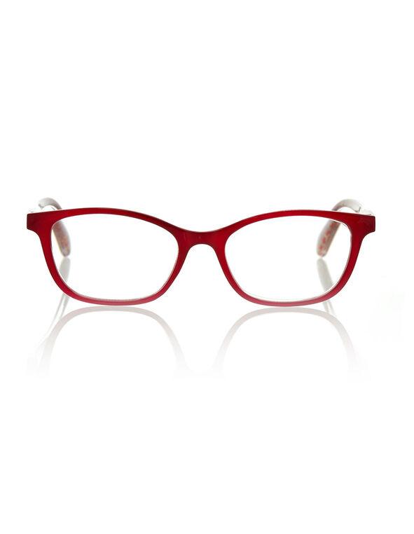 Red Patterned Reader Glasses, Red, hi-res