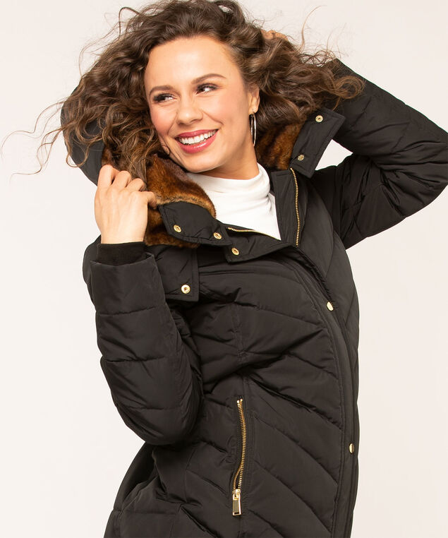 Long Feather Down Puffer Coat, Black