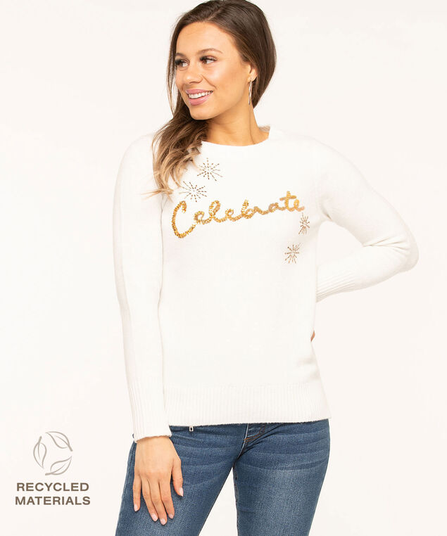 "Recycled Ivory ""Celebrate"" Sweater, Ivory/Gold"