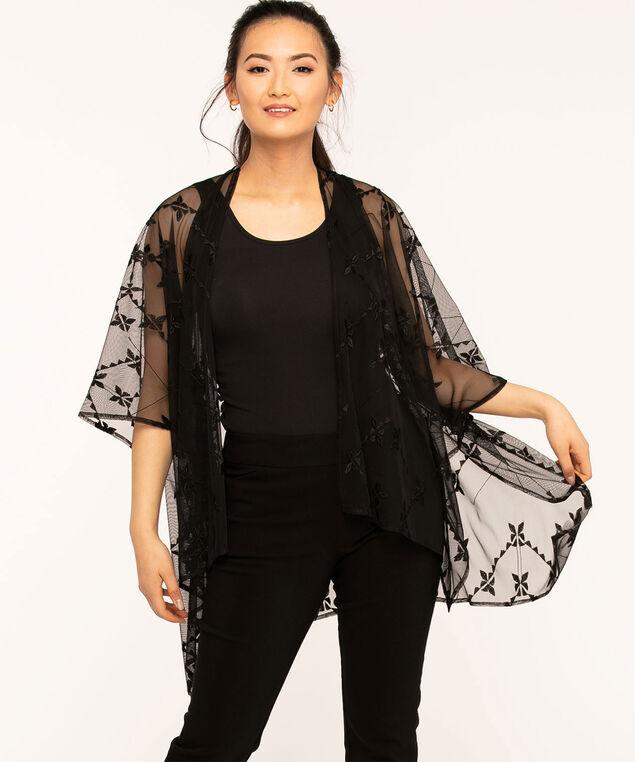 Black Embroidered Mesh Kimono, Black