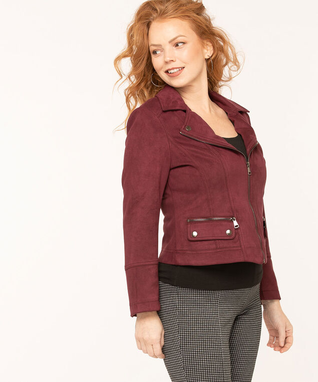 Faux Suede Textured Moto Jacket, Mulberry, hi-res