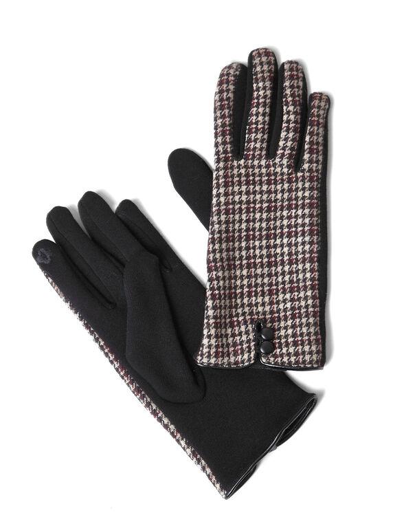 Brown Herringbone Text Glove, Brown, hi-res