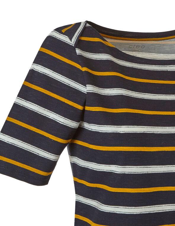 Stripe Print Boat Neckline Tee, Stripe, hi-res