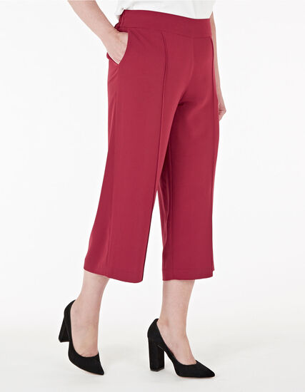 Red Wide Leg Crop Pant, Red, hi-res