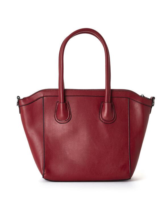 Red Structured Satchel Handbag, Red, hi-res