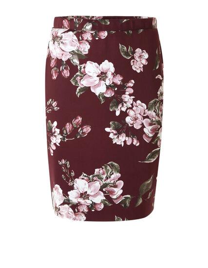 Merlot Floral Pencil Skirt, Merlot, hi-res