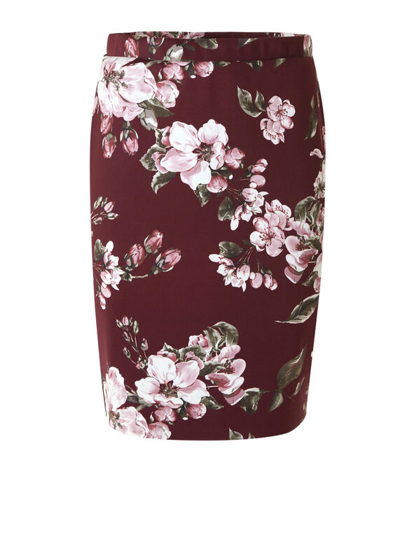 Merlot Floral Pencil Skirt, Merlot, hi-res