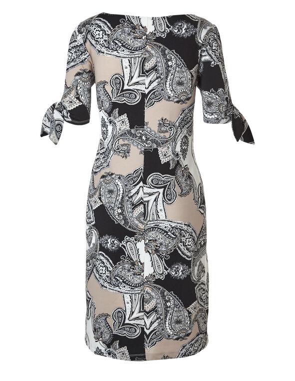 Paisley Printed Cold Shoulder Dress, Black/Stone, hi-res