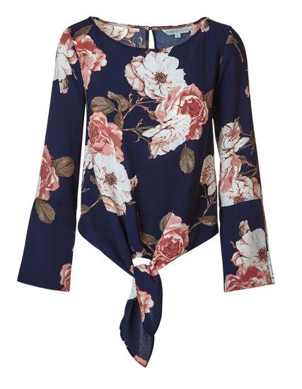 Navy Floral Tie Blouse, Navy Floral, hi-res