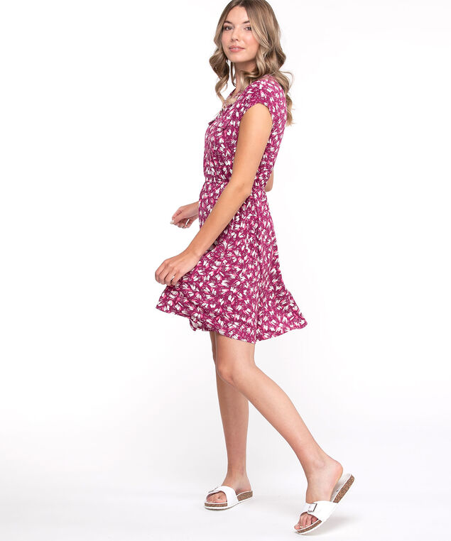 Short Sleeve Printed Dress, Fuchsia/White