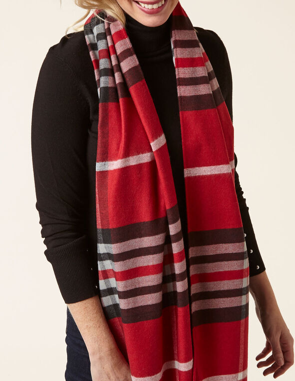 Red Plaid Super Soft Woven Scarf, Red, hi-res
