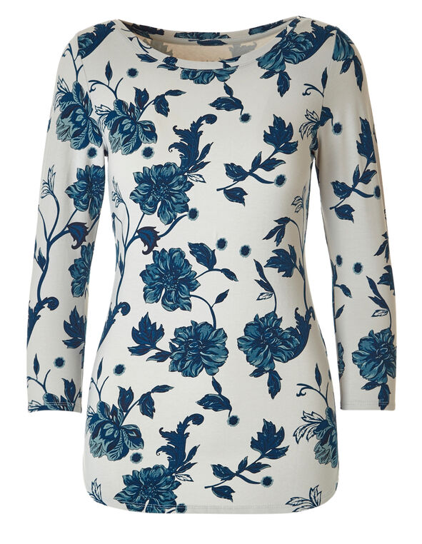 Stone Floral Boat Neck Tee, Stone Floral, hi-res