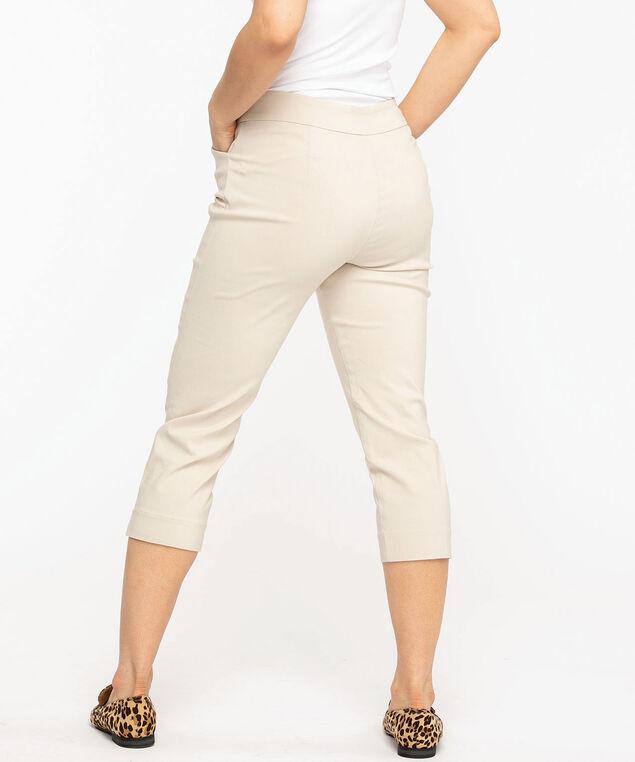 Tan Slim Leg Pull-On Capri, Tan