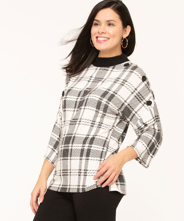 Black Button Plaid Hacchi Top, Black/Grey/Ivory