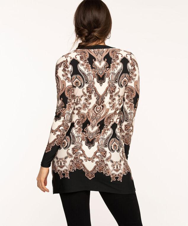 Long Sleeve Paisley Tunic Top, Black/Beige