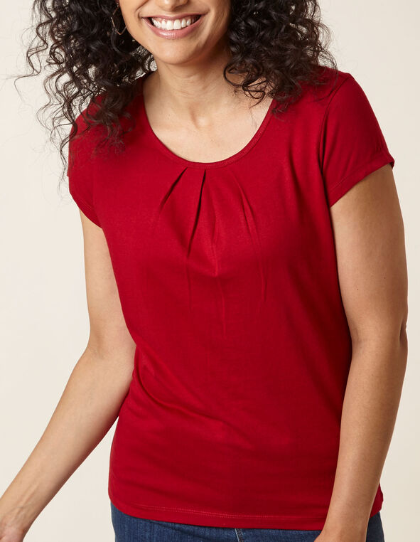 Red Scoop Neck Tee, Red, hi-res