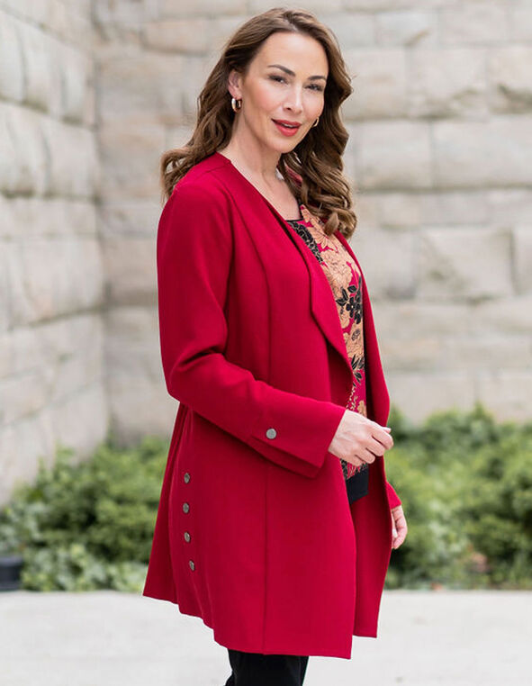 Red Draped Blazer, Red, hi-res