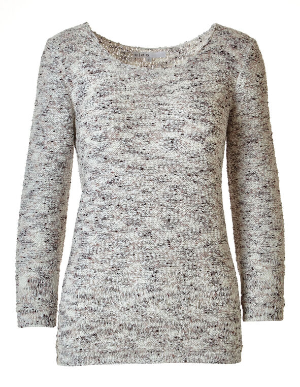 Light Plum Tape Yarn Sweater, Ivory/Plum, hi-res