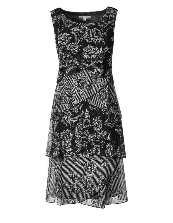 Black Floral Rumba Shift Dress, Black/White, hi-res