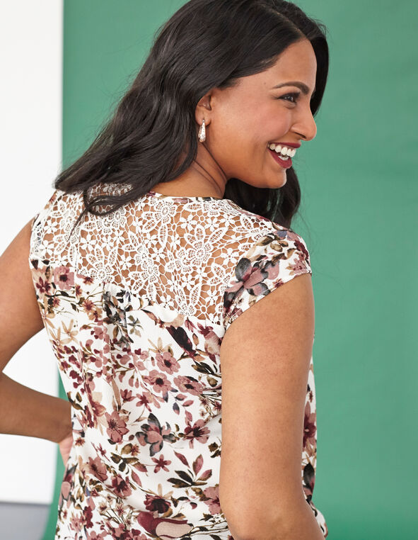 White Floral Back Lace Detail Blouse , White, hi-res