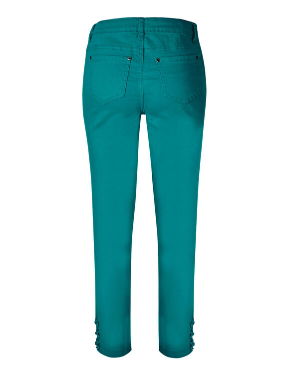 Turquoise Cotton Ankle Jean, Turquoise, hi-res