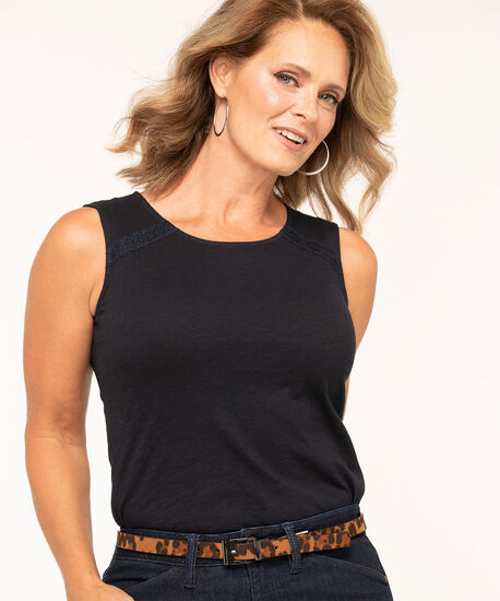 Cotton Sleeveless Knit Top, Navy, hi-res