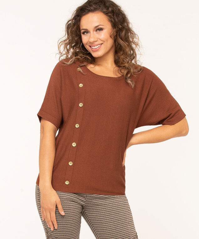 Button Detail Dolman Pullover Sweater, Brown, hi-res