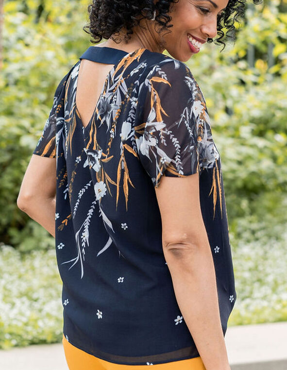 Black V-Back Detail Blouse, Blue, hi-res
