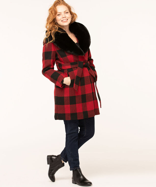 Red Buffalo Check Belted Coat, Red/Black, hi-res