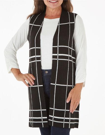 Black Windowpane Sweater Vest, Black, hi-res