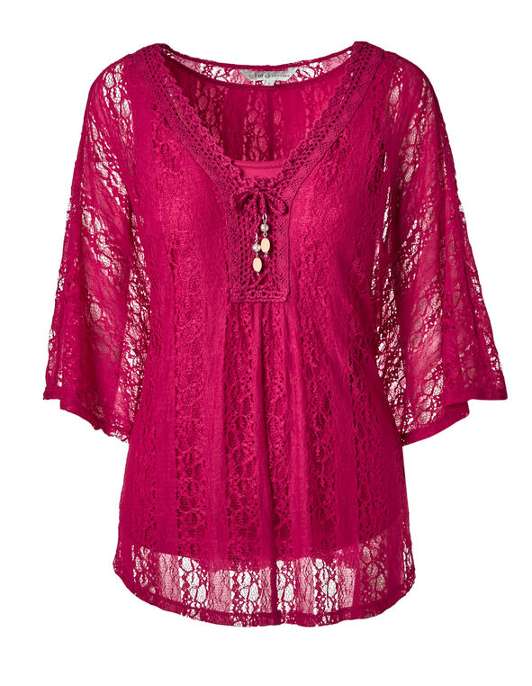 Hot Pink Crochet Caftan Top, Hot Pink, hi-res