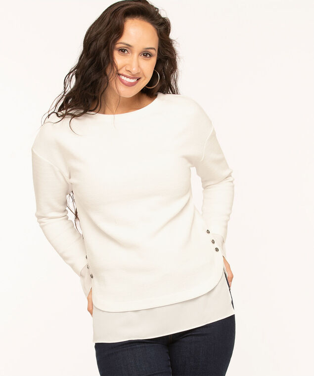 Ivory Ottoman Fooler Top, Ivory, hi-res