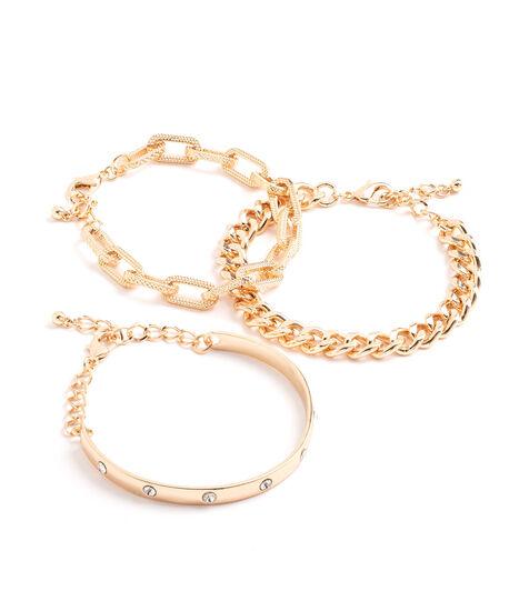 Gold Bangle Bracelet 3-Pack, Gold, hi-res