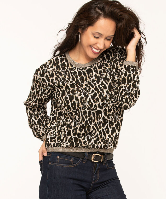 Animal Print Hacchi Knit Top, Black/Beige/Camel, hi-res