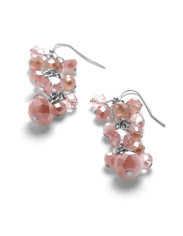 Pink Beaded Dangle Earring, Pink, hi-res
