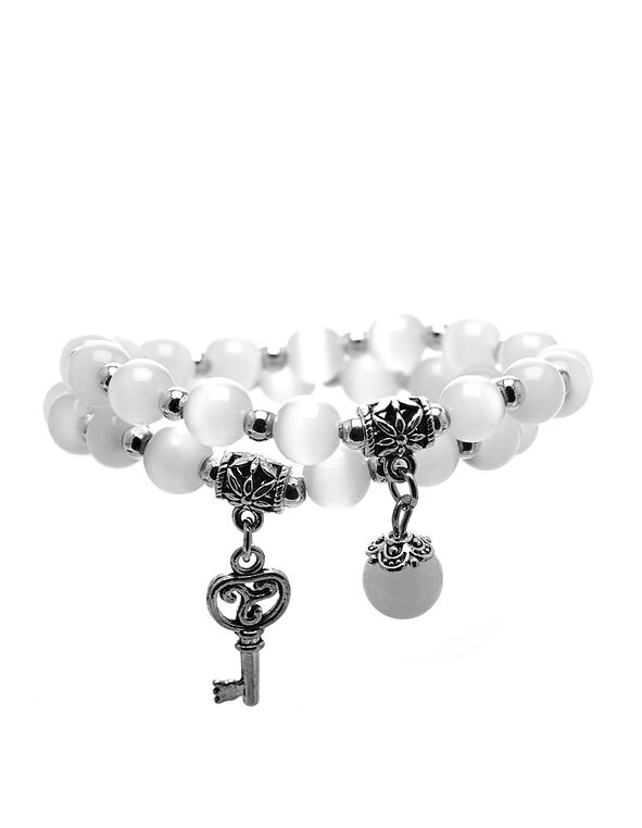White Cat Eye Beaded Bracelet, White, hi-res