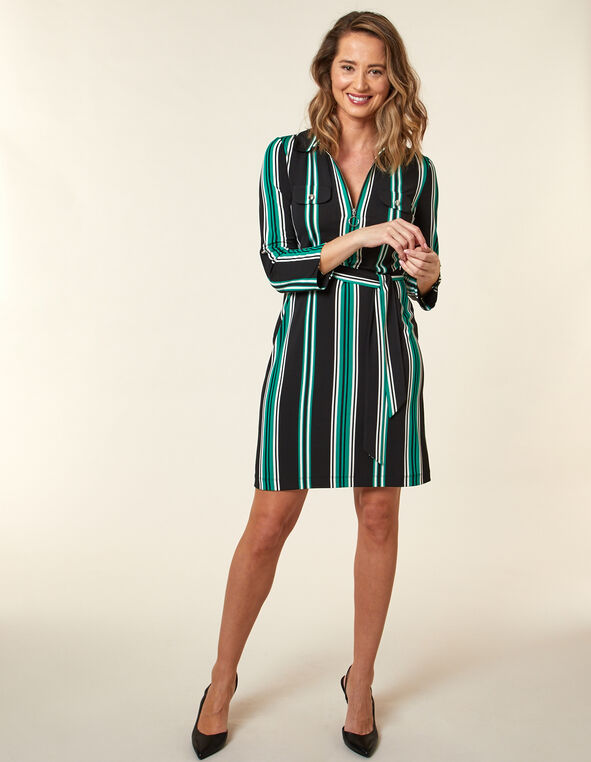 Emerald Stripe Shirt Dress, Black/Green, hi-res