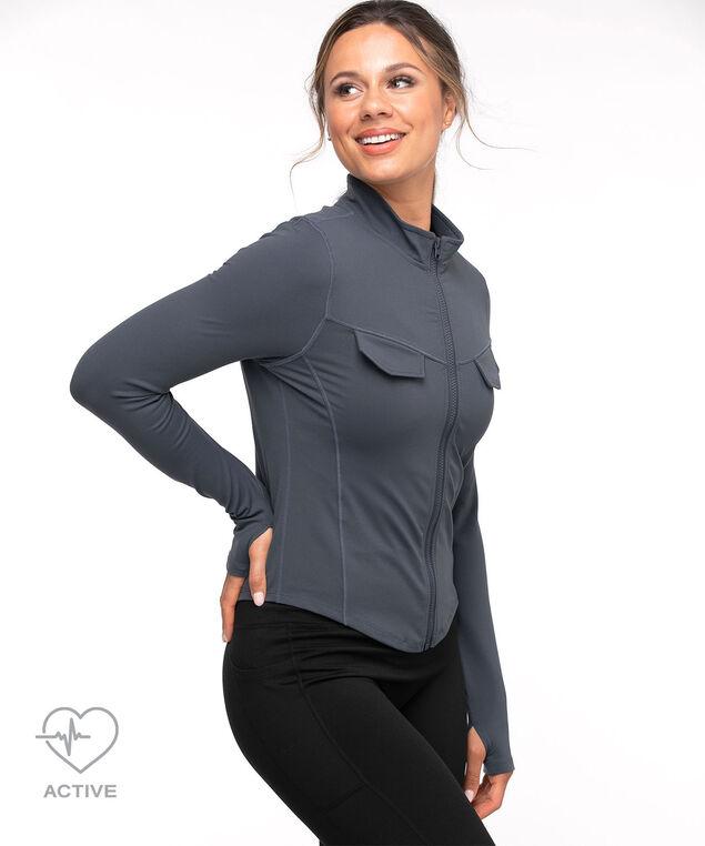 Long Sleeve Zip Front Active Top, Dark Dusty Blue