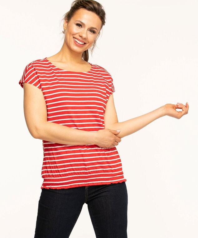 Red Stripe Smocked Cotton Tee, Red/White Stripe