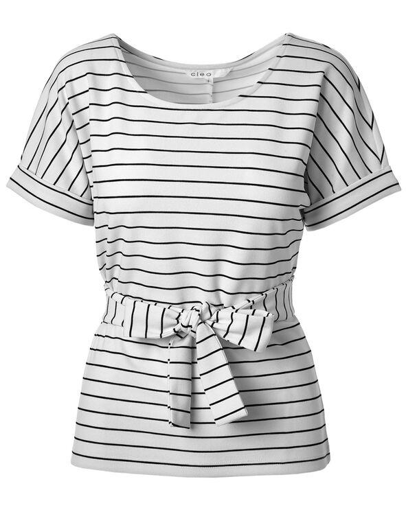 White Striped Front Tie Top, White, hi-res