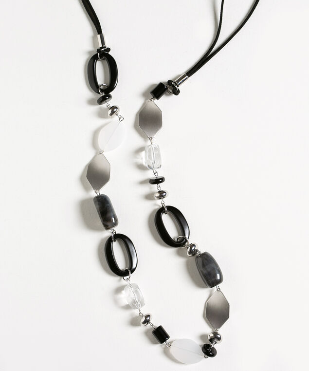 Black Suede Beaded Long Necklace, Black/Silver, hi-res