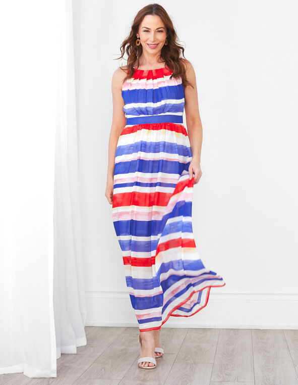 Multi Striped Maxi Dress, Blue/White, hi-res