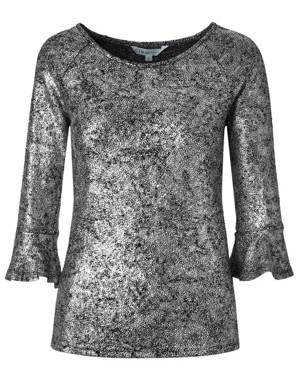 Silver Metallic Bell Sleeve Top, Silver, hi-res