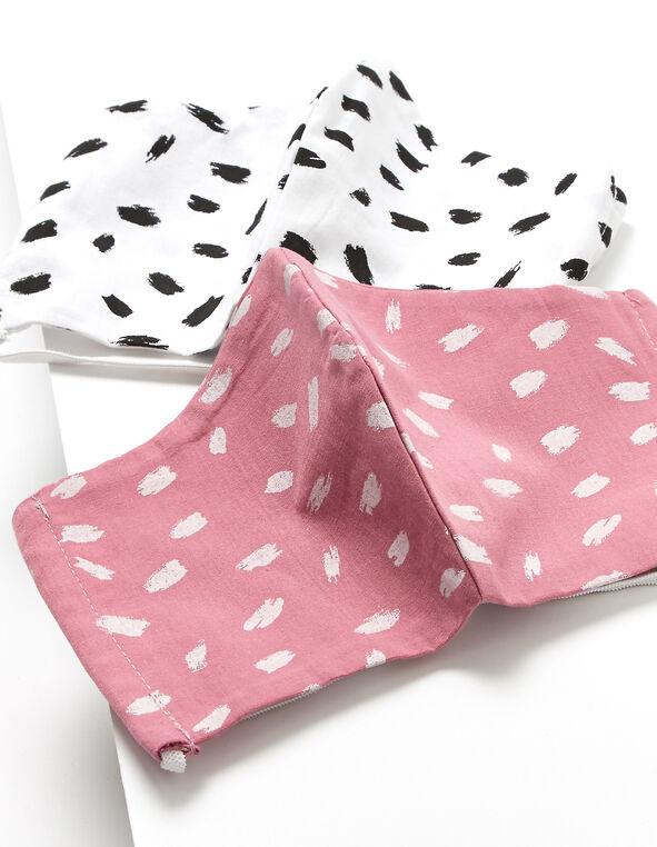 Set of 2 Face Masks, Pink/White, hi-res