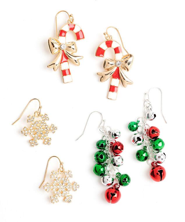 Festive Earring 3-Pack, Gold/Silver