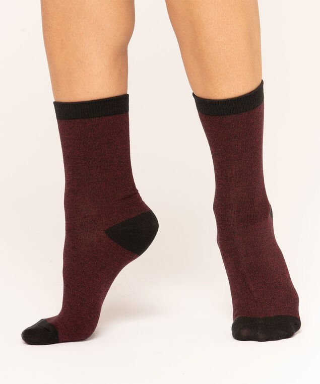 Mulberry & Black Crew Sock, Mulberry/Black, hi-res