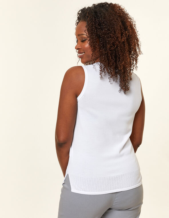 White Pointelle Knit Sweater, White, hi-res