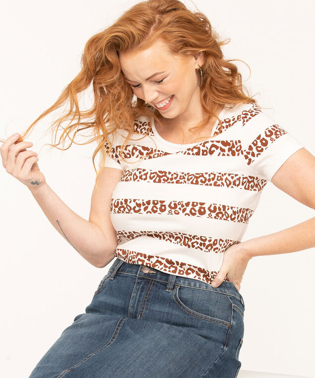 Scoop Neck Organic Cotton Tee, White/Brown, hi-res