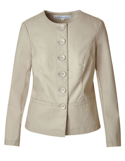 Stone Button Faux Leather Jacket, Stone, hi-res